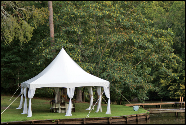 This is a 20 20 high peak frame tent set up on Lake Oconee for a private