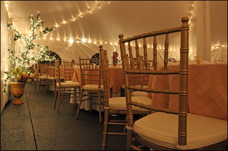 Gold Chiavaris in a Wedding Tent