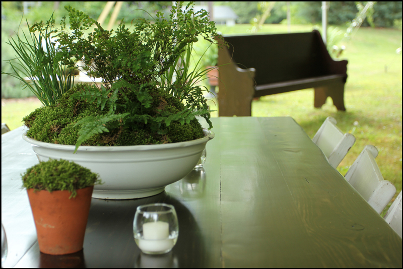 Simple, elegant greenery matched to our tables at the Jefferson, GA wedding