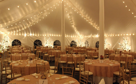 Lighting installed in pole tent