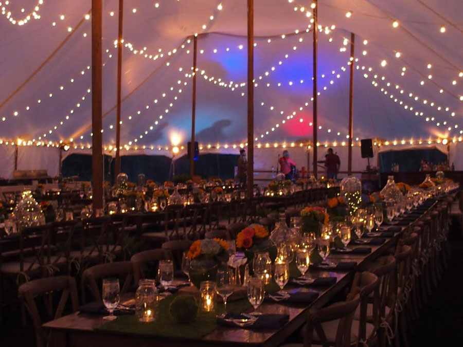 Lake Oconee Events at Sandy Creek Barn & Tent Lighting Ideas | String Lights | Photo | Goodwin Events