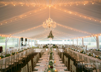 frame style tent with string lights
