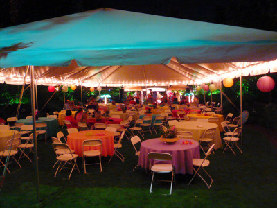 Tent perimeter lighting with cafe lights