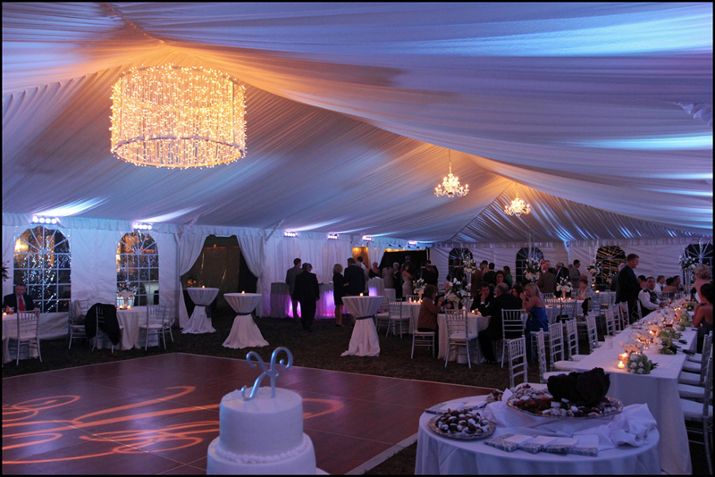 Drum Chandelier in Tent for Wedding