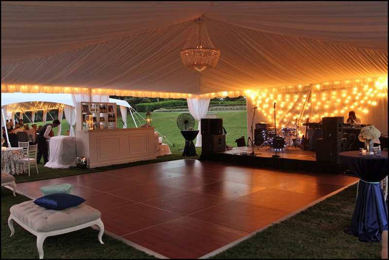Hang a chandelier in a tent