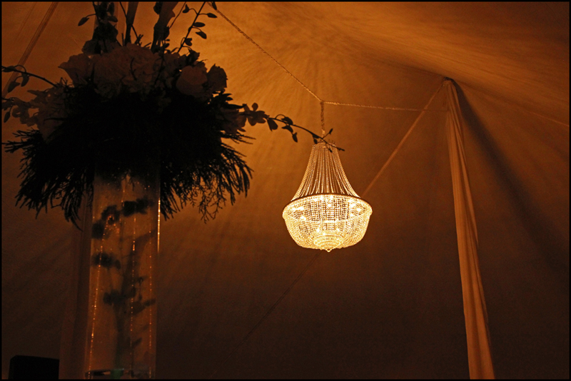 Wedding Tent Chandelier Install