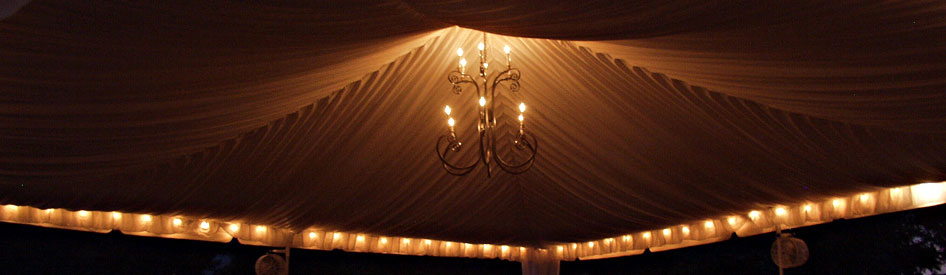 Hanging a chandelier in a tent