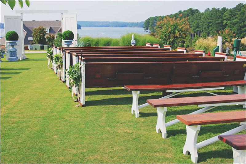 Benches for a wedding ceremony