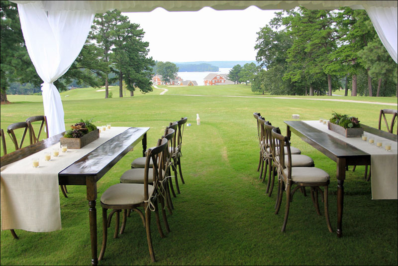 Crossback chairs and farm tables