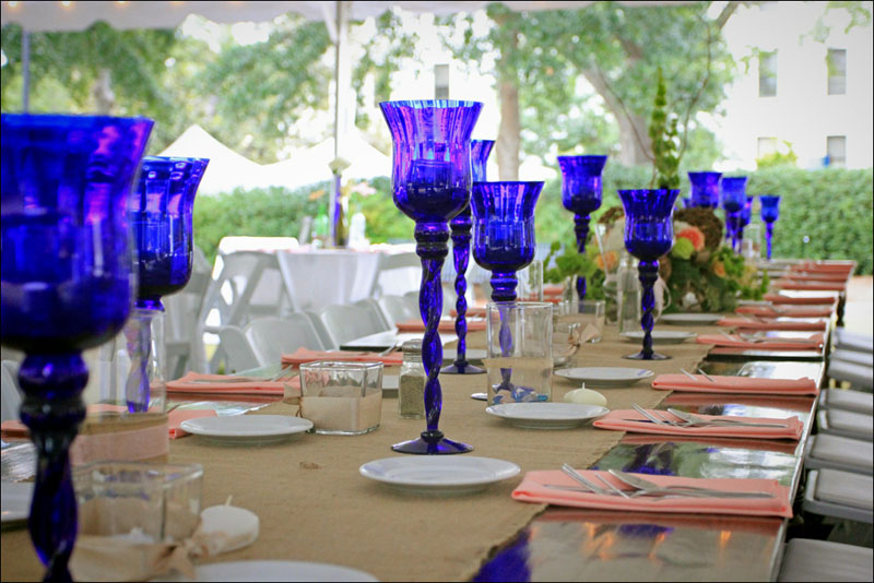Farm Tables with Blue glass