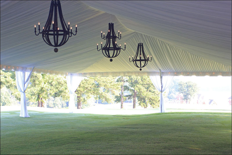 Chandeliers in a tent for a wedding