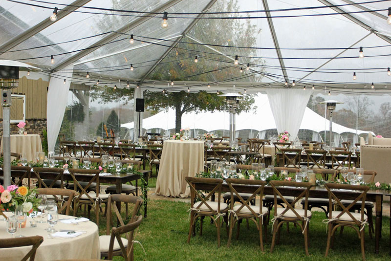 Athens Ga Clear Top Tent Rental Crossback Chairs Wedding