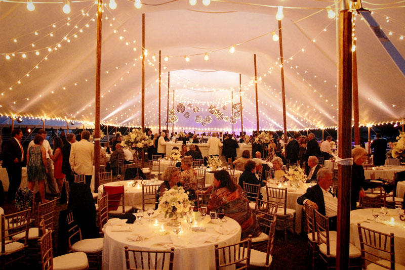 how much string lighting for wedding tent