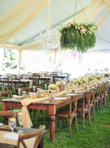 photos of farm tables with chairs used in a wedding reception