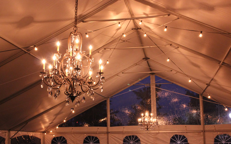 Festoon Lighting in a Tent