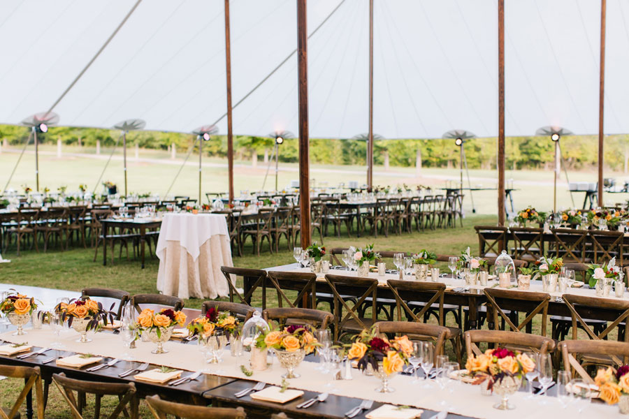 Sailcloth tent with rental farm tables