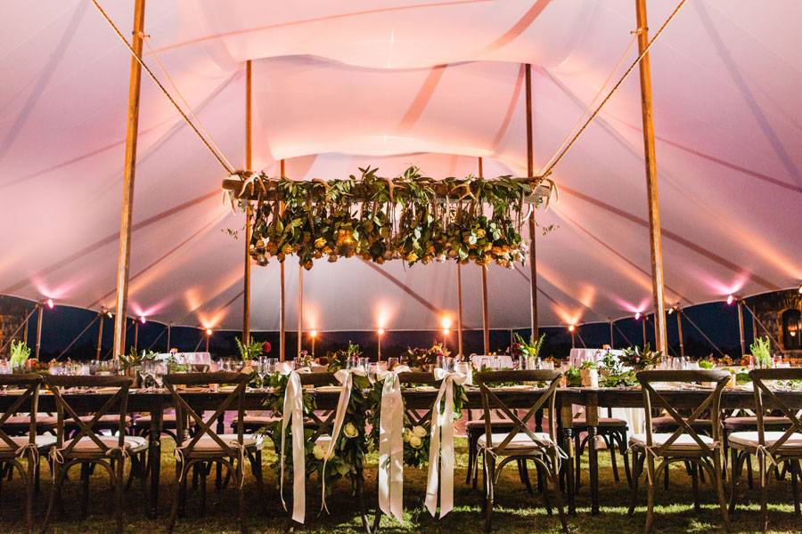 Lighting in a sailcloth tent