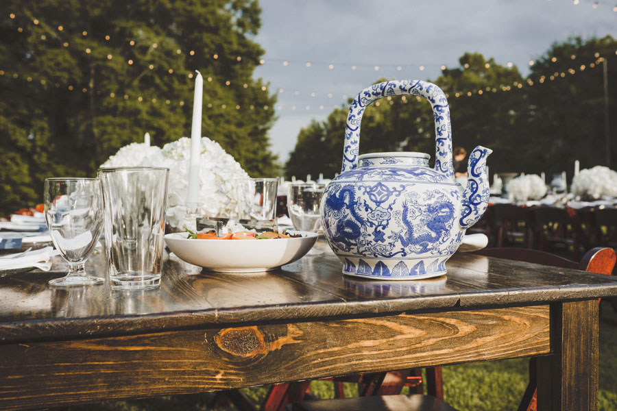blue and white china on farm table