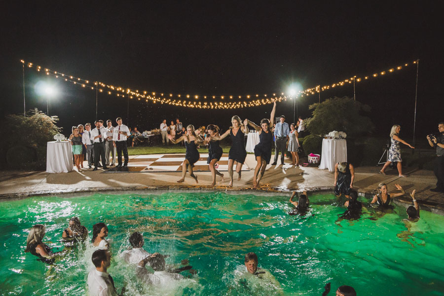 wedding party in the pool