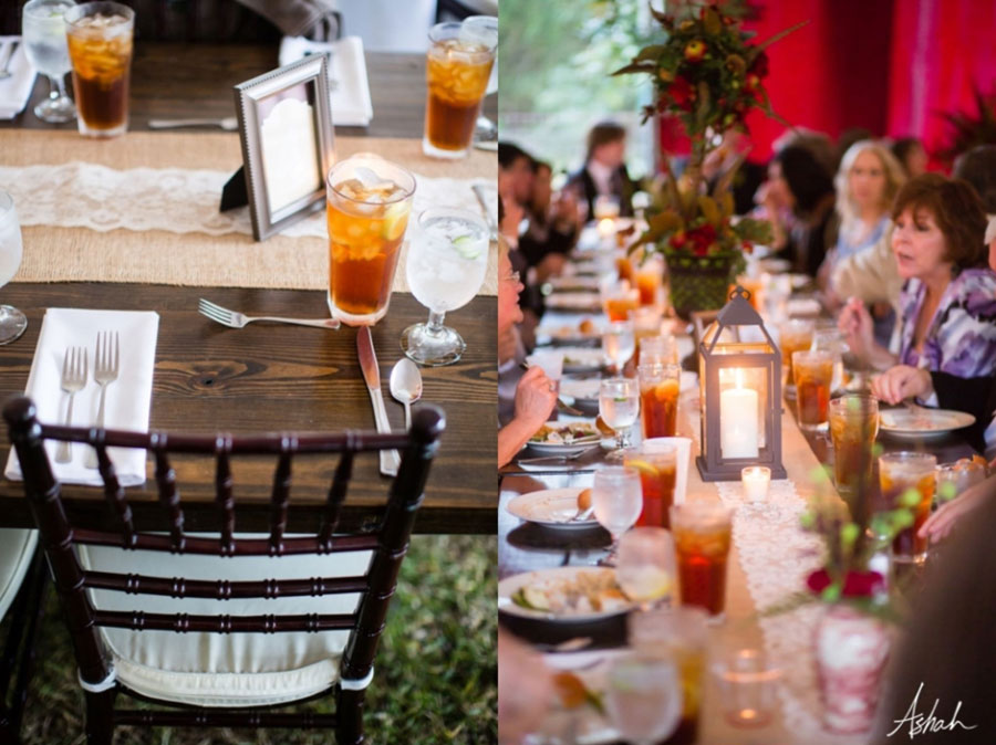 farm tables for seating at a wedding