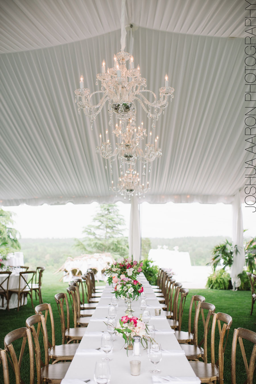 hanging lights over wedding tables