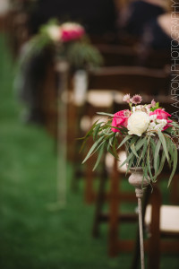 flowers hanging on fruitwood folding chair