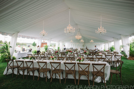 luxury wedding tent with chandeliers