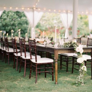 farm table picture with a floral runner